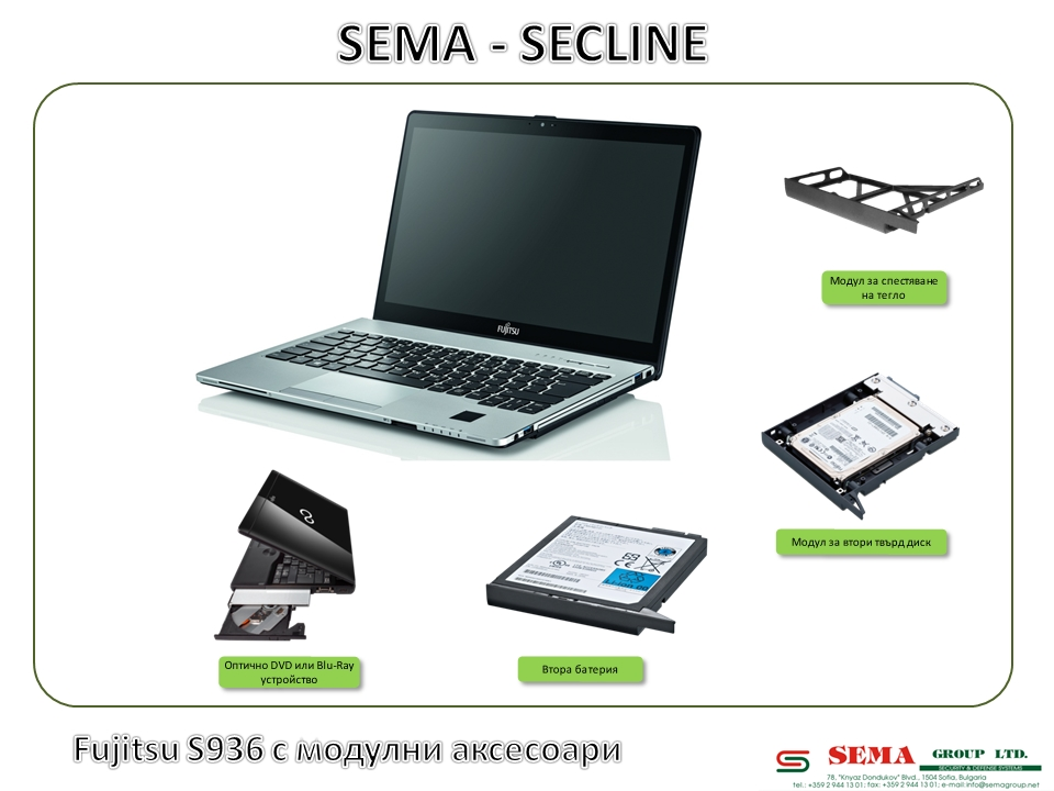 Fujitsu S936 with Modular Bay Accessories BG